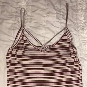 Red and White Striped Strappy Cami
